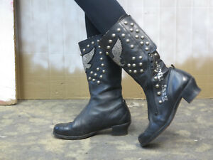 Easy Rider Biker Boots Stiefel echt Leder schwarz 70er TRUE VINTAGE 70s leather