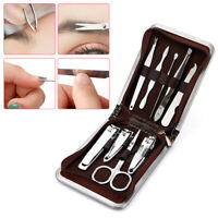 9Pcs Pedicure Manicure Tool Kit Nail Clippers Set Nail Cuticle Grooming Kit Case