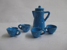 Vintage Dollhouse Miniature Blue Enamel Metal Coffee/Tea Pot & 4 Cups