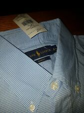 Polo Ralph Lauren Shirt Blue White Gingham Check Button Down Large new