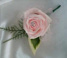 Flores De Boda Bebé Rosa Ojales Diamante realista verdor Cinta Nupcial