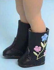 NIP-black embroidered boots  fit American Girl