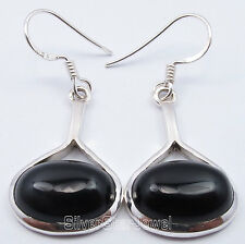 "925 Solid Silver CABOCHON BLACK ONYX LADIES' JEWELRY Earrings 1.5"" ONLINE BUY"