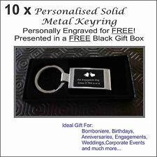 10 Personalised Engraved Metal Keyring in FREE Black Gift Box Wedding Bomboniere