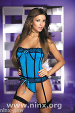 CORSET Bustier Blue Stretch Microfibre Lingerie + matching G-string fits 10-12