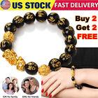 Feng Shui Black Obsidian Beads Pi Xiu Bracelet Attract Wealth Good Luck Jewelry