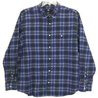 Calvin Klein Button Front Shirt Mens XL Long Sleeve Blue Gray Plaid Chest Pocket