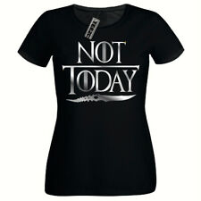 Not Today T Shirt, Ladies Fitted T- Shirt, Arya Game Of Thrones T Shirt (SILVER)