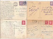 Lot 4 cartes postales timbrées timbres libération 1944 croix de lorraine 3