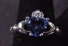 Sterling 925 Silver SF Size 7 Claddagh Ring 7mm Tanzanite Heart & 2mm WT