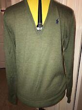 BNWT Ralph Lauren 'Eloise' V Neck Jumper. Extra fine Merino Wool. Green. Size M