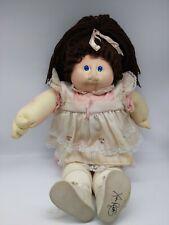 Vintage Cabbage Patch Kids Soft Sculpture Girl Brown Hair Blue Eye Plush Doll