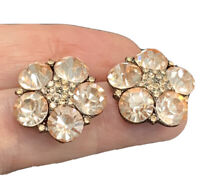 Vintage Nice Champagne Super Sparkle Crystal Faceted Button Pierced Earrings