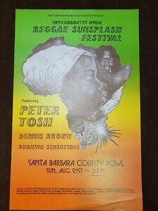Vintage 1983 Peter Tosh 1st Annual Reggae Sunsplash Festival Poster Dennis Brown