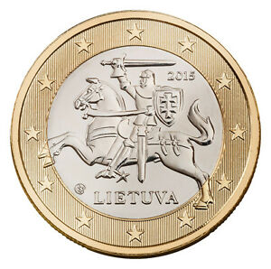 LITHUANIA - 1 € Euro circulation coin  2015 UNCIRCULATED COIN FROM ROLL