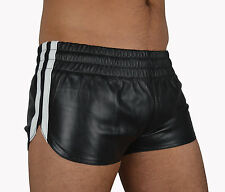 SPORTS LEATHER SHORTS WITH LEATHER STRIPES,HOTPANTS ledershorts