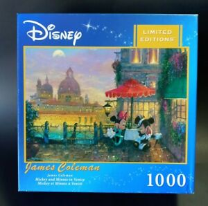 """Disney Limited Edition """"Mickey and Minnie in Venice"""" James Coleman 1000 Puzzle"""