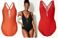 Womens M&S Tummy Control Swimsuit Padded Plunge Swimming Costume Slimming Size