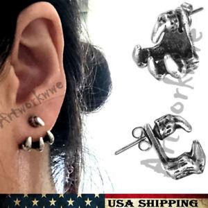 Mens Womens Claw Earrings Ancient silver dragon claw Men's Stud Earrings