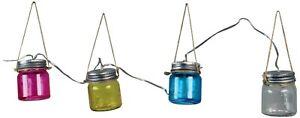 Luxform Lighting Blanes 3.8m Solar LED Coloured Glass Jar String Light LF1036