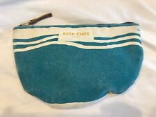 Erin Flett Cream Blue Green Canvas Makeup Bag Hand Made In Maine Zip Top Clean
