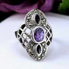 Lovely Vintage 925 Sterling Silver Marcasite Amethyst Onyx elongated Ring Sz7.5