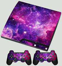 PLAYSTATION PS3 SLIM STICKER GALAXY VIBRANT SPACE STARS SKIN & 2 PAD SKINS