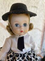"""8"""" Vintage Madame Alexander ALEX Doll in Polka Dots 1950s Bent Knee Walker"""