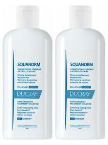 2 pack of Ducray Squanorm Anti-Dandruff Treatment Shampoo Oily Dandruff 200 ml