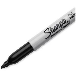 10-Pack SHARPIE PERMANENT MARKERS Black Fine Point Office Pen Lot Set Art School