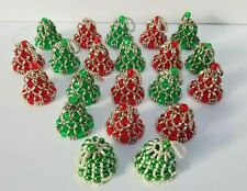 Lot of 21 Vintage Beaded Handmade Christmas Bell Ornaments Red Green & Silver