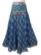 Blue Green Pattern Silk Palazzo Umbrella Trousers Boho Festival Elastic Back