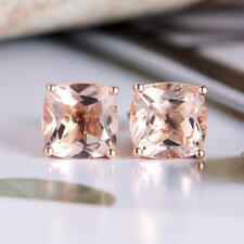 14K Rose Gold FN 4Ct Cushion Cut Morganite Solitaire Stud Earring Jewelry gift
