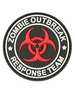 Zombie Outbreak round patch - Red, white and Black-  Airsoft Army PVC Patch