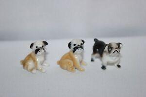 Vintage Set 3 Miniature Ceramic French Bulldog Bug House Hagen Renaker Dog