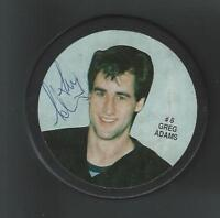 Greg Adams Signed Photo Puck New Jersey Devils Vancouver Canucks Dallas Stars