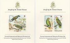 Belize 2604 - 1984 PARROTS imperf set on TWO Format International PROOF  CARDS
