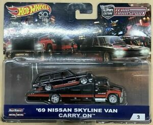 1/64 Hot Wheels Team Transport 69 Nissan Skyline Van Carry On shipped in a prote