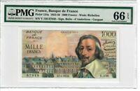 France 1000 Francs 1955 Pick 134a PMG UNC 66 EPQ - Nice