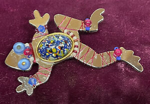 LIZTECH RAINFOREST FROG SIGNED DATED 1995 BROOCH PIN