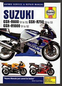 SUZUKI GSX-R600 2001-03, GSX-R750 00-03, GSX-R1000 01-02, SERVICE REPAIR  MANUAL