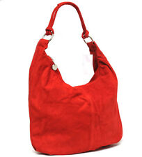 Made in Italy beautiful HOBO real suede leather  Hand Made RED Shoulder bag
