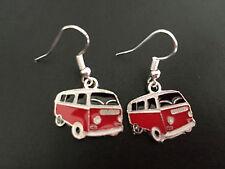 FUNKY RED VW CAMPER VAN ENAMEL CHARM EARRINGS LADIES GIRLS RETRO GIFT PRESENT