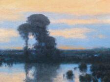 Moody Dawn Original Art Oil Painting Impressionist tonalism Farm Artist Paint