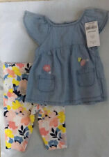 Carter's Baby Girl Chambray Top & Floral Leggings Set 3M