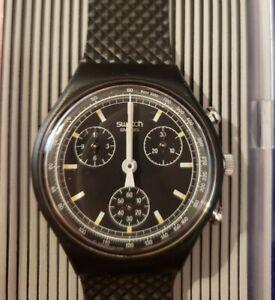 1989 Chrono Swatch Watch Black Friday SCB100 New Old Stock