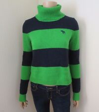 NEW Abercrombie Womens Striped Turtleneck Sweater Size XS Top Shirt Green