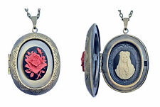 The Sacred Blood Rose of Santa Muerte Cameo Necklace - Blessed Are the Believers