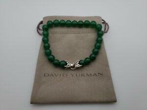 David Yurman Men's Spiritual Bead Bracelet with Green Onyx 8mm length 8.5