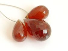 AA Hessonite Garnet Faceted Teardrop Briolette Gemstone Beads 005